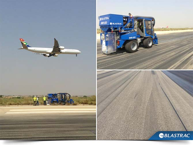 Image of removing rubber on runway in Angola