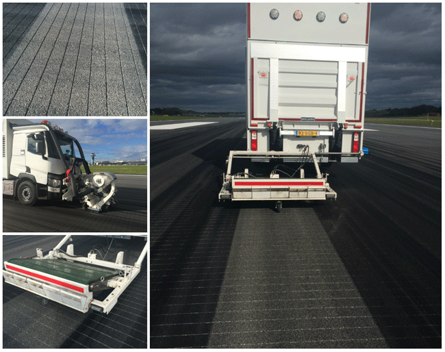 Rubber removal on grooved runway